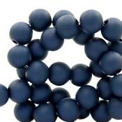 Blauw Acryl kralen mat Anthracite blue 8mm - 50 stuks