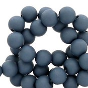 Blauw Acryl kralen mat Peacoat blue 8mm - 50 stuks