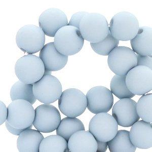 Blauw Acryl kralen mat Haze blue 8mm - 50 stuks