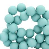 Turquoise Acryl kralen mat Deep turquoise 8mm - 50 stuks
