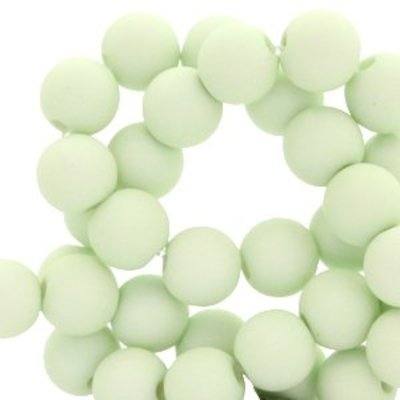 Groen Acryl kralen mat Pastel green 8mm - 50 stuks