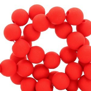 Rood Acryl kralen mat Crimson red 8mm - 50 stuks