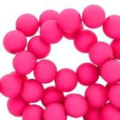 Roze Acryl kralen mat Fuchsia pink 8mm - 50 stuks