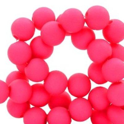 Roze Acryl kralen mat Fluor pink 8mm - 50 stuks