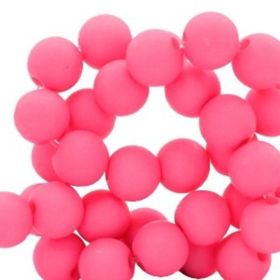 Roze Acryl kralen mat Raspberry pink 8mm - 50 stuks