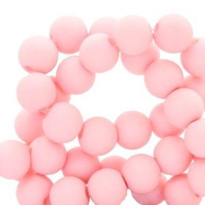 Roze Acryl kralen mat Baby pink 8mm - 50 stuks