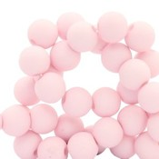 Roze Acryl kralen mat Pale pink 8mm - 50 stuks