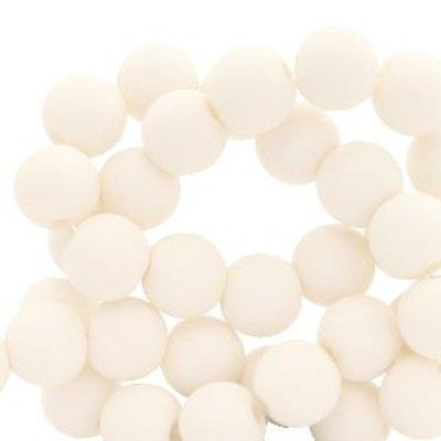 Wit Acryl kralen mat Cream white 8mm - 50 stuks