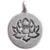 Zilver Bedel munt lotus bloem Zilver 20x15mm - 3 stuks
