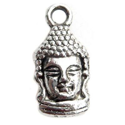 Zilver Bedel buddha Zilver 17x8mm - 6 stuks