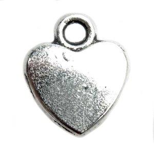 Zilver Bedel hart Zilver 12x10mm - 6 stuks