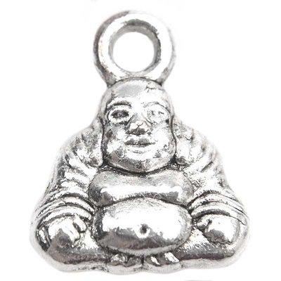 Zilver Bedel mini buddha Zilver 12x9.5mm - 10 stuks