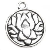 Zilver Bedel munt lotus flower Zilver 24x20mm - 3 stuks
