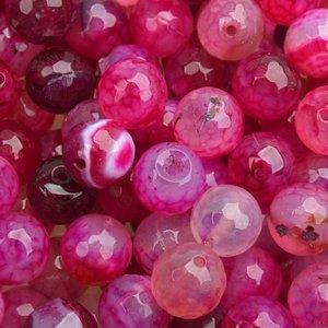 Roze Edelsteen rond Crackle agaat fuchsia facet 10mm