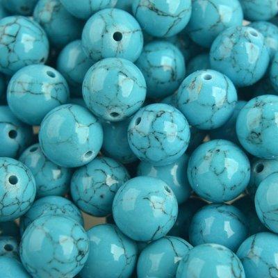 Turquoise Edelsteen rond Synthetisch Turquoise 10mm - 5 stuks