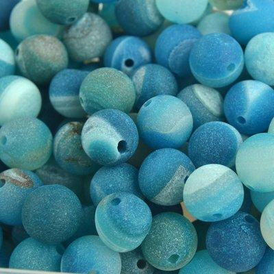 Blauw Edelsteen rond Frosted Agaat aqua 10mm