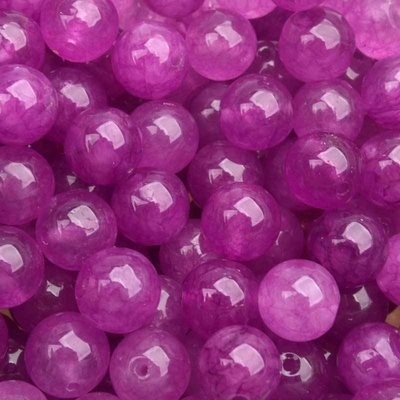 Roze Edelsteen rond Jade fuchsia paars 10mm