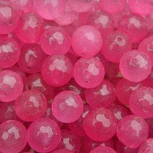 Roze Edelsteen rond Jade bright pink facet 10mm