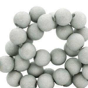 Grijs Acryl kralen mat Mineral grey 6mm - 50 stuks