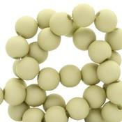 Groen Acryl kralen mat Pale olive green 6mm - 50 stuks