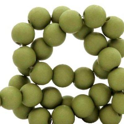 Groen Acryl kralen mat Dark olive green 6mm - 50 stuks