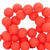 Rood Acryl kralen Deep coral red 6mm - 50 stuks