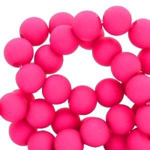Roze Acryl kralen Fuchsia pink 6mm - 50 stuks