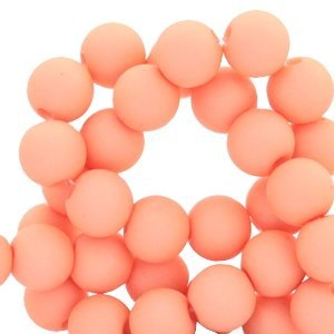 Oranje Acryl kralen mat Salmon rose 6mm - 50 stuks
