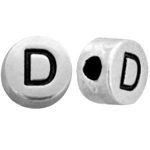 Zilver Metallook letterkralen letter D Antiek zilver 7mm -10 stuks
