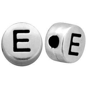 Zilver Metallook letterkralen letter E Antiek zilver 7mm -10 stuks