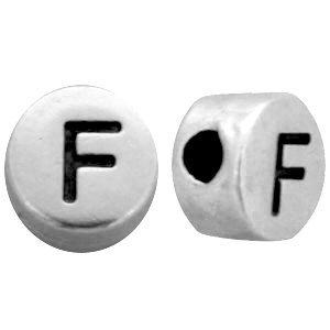 Zilver Metallook letterkralen letter F Antiek zilver 7mm -10 stuks