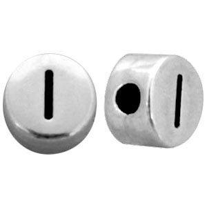 Zilver Metallook letterkralen letter I Antiek zilver 7mm -10 stuks