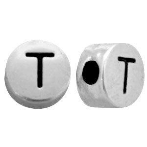 Zilver Metallook letterkralen letter T Antiek zilver 7mm -10 stuks