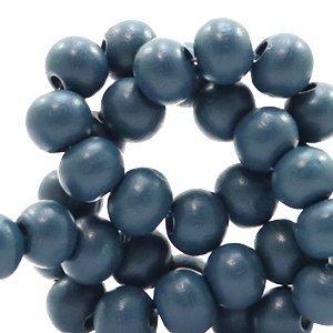 Blauw Houten kralen rond Aegean blue 8mm - 50 stuks