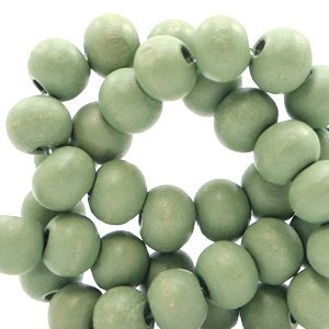 Groen Houten kralen rond Light green 8mm - 50 stuks