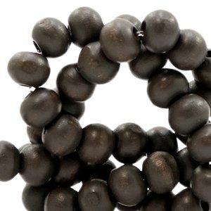 Bruin Houten kralen rond Dark grey brown 8mm - 50 stuks