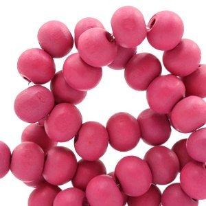 Roze Houten kralen rond Cherish pink 8mm - 50 stuks
