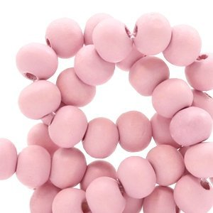 Roze Houten kralen rond Light ballet pink 8mm - 50 stuks