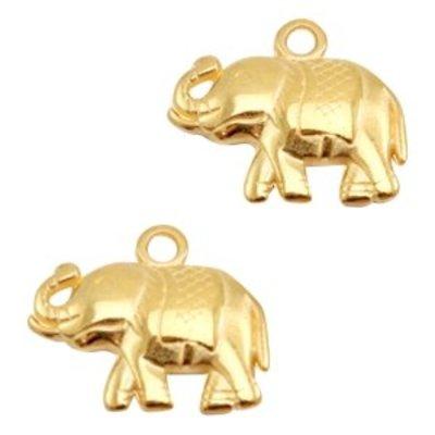 Goud Bedel olifant  Goud DQ 18x15mm