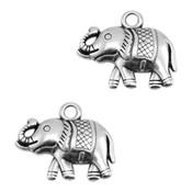 Zilver Bedel olifant  Zilver DQ 18x15mm