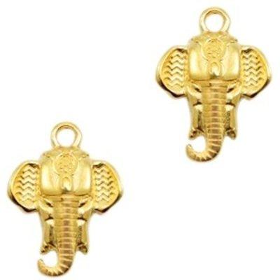 Goud Bedel olifant  Goud DQ 21x16mm