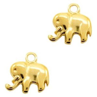 Goud Bedel olifant  Goud DQ 15x14mm