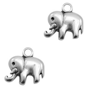 Zilver Bedel olifant  Zilver DQ 15x14mm