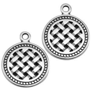 Zilver Bedel munt vlechtwerk Zilver DQ 20x16mm