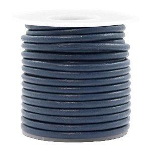 Blauw Rond leer Navy blue 3mm - per meter