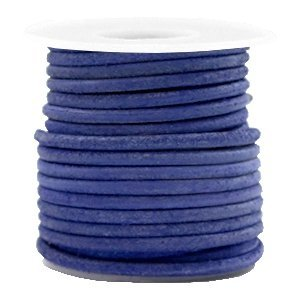 Blauw Rond leer Antique blue 3mm - per meter