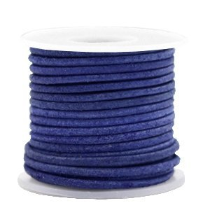 Blauw Rond leer Antique blue 2mm - per meter