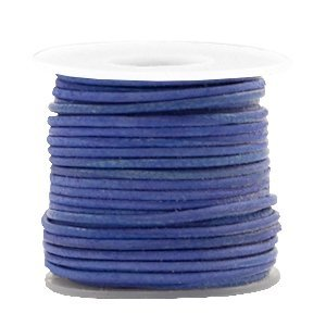 Blauw Rond leer Antique blue 1mm - per meter