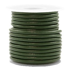 Groen Rond leer Army green metallic 3mm - per meter