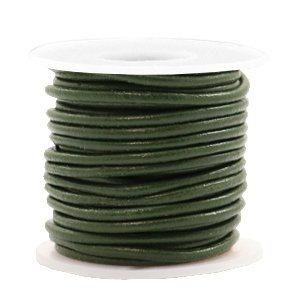 Groen Rond leer Army green metallic 2mm - per meter